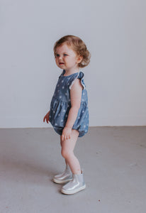 infant girl's chambray bubble romper