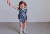 Infant Girl's Chambray Star Print Ruffle Cotton Cutout Bubble Romper