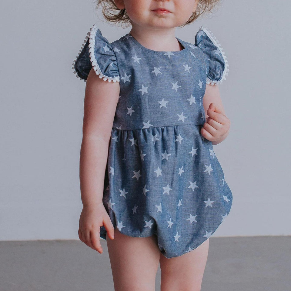 little girl's chambray romper