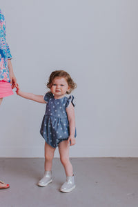 infant girl's chambray romper
