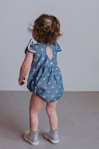 baby girl's chambray bubble romper
