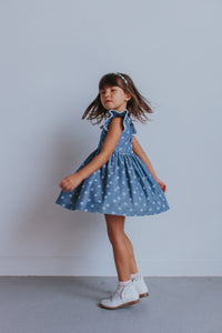 Little Girl's Chambray Star Print Cutout Dress