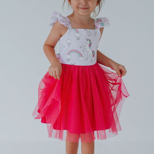 little girls pink tulle unicorn dress