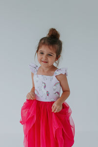 girls pink tulle unicorn party dress