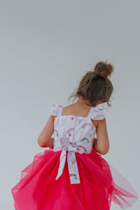 Victoria Pink Tulle Flutter Sleeve Unicorn Party Dress