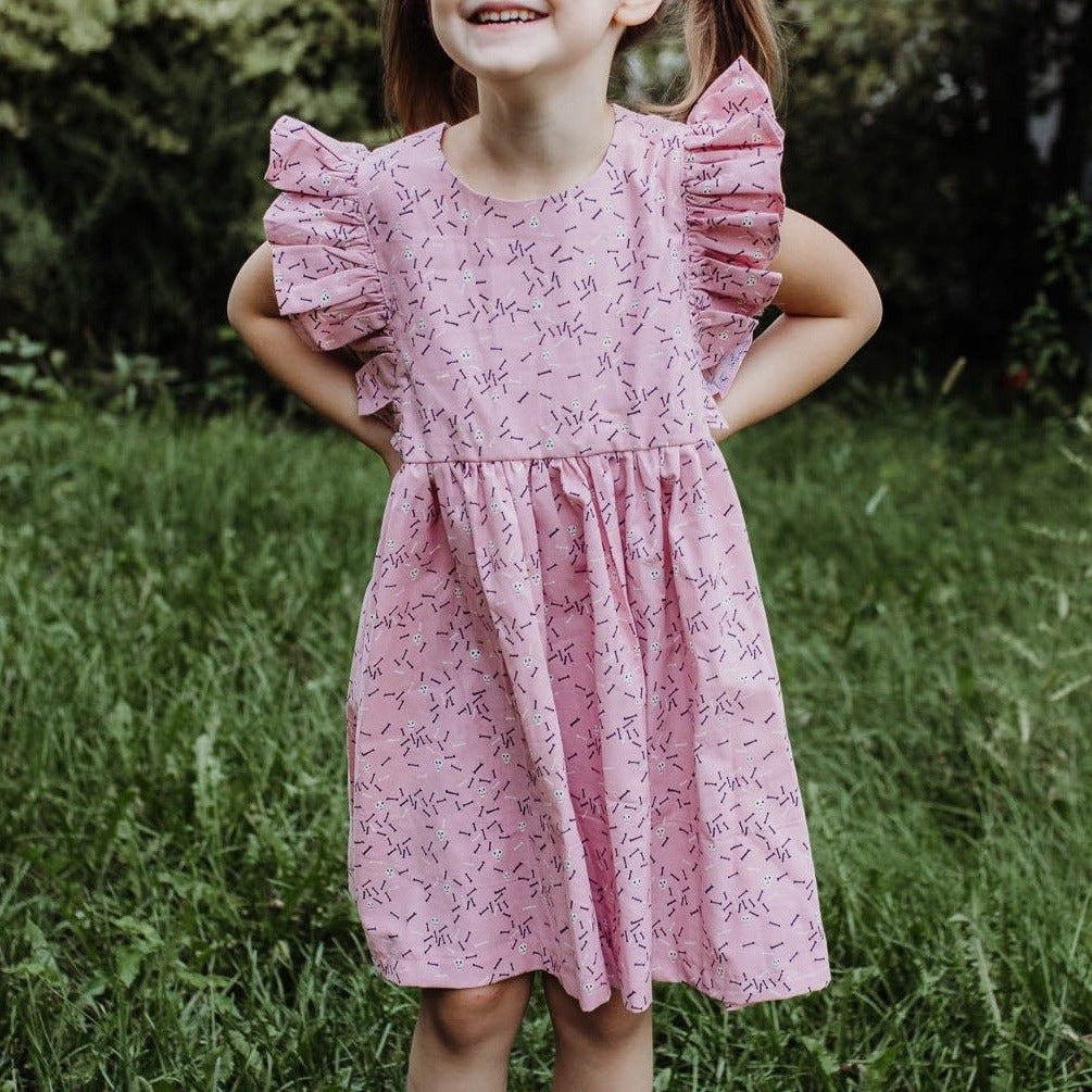 Little Girl's Pink Skull and Cross Bones Halloween Ruffle Dress