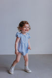 blue swiss dot romper