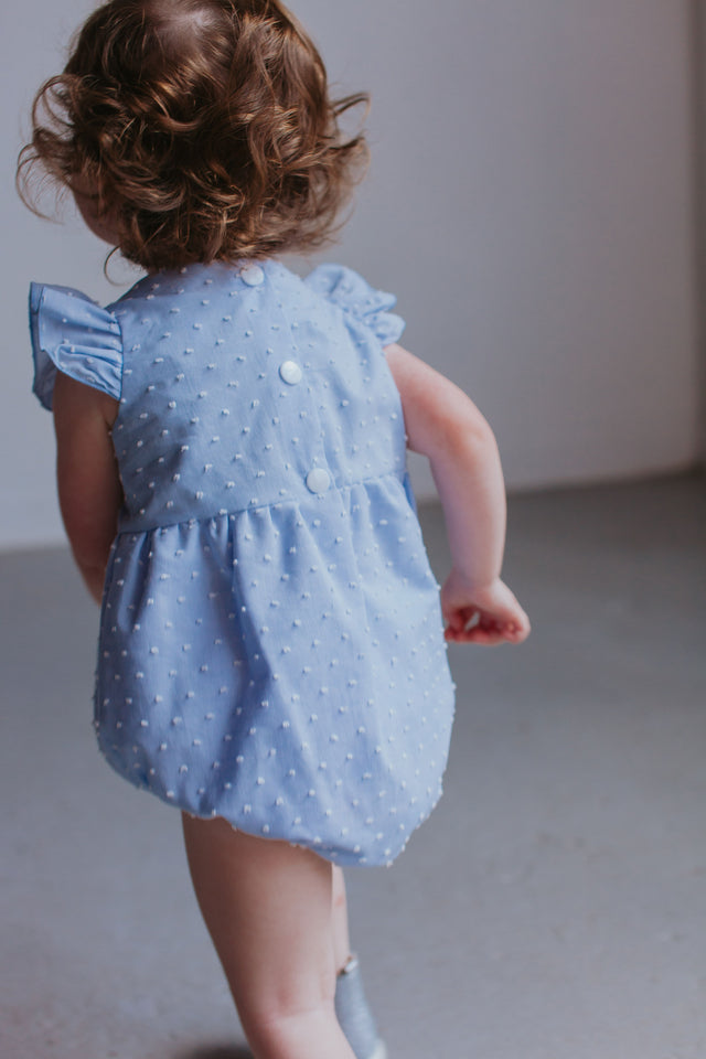 Infant Girl's Baby Blue Swiss Dot Cotton Bubble Romper