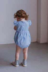 infant girl's powder blue bubble romper
