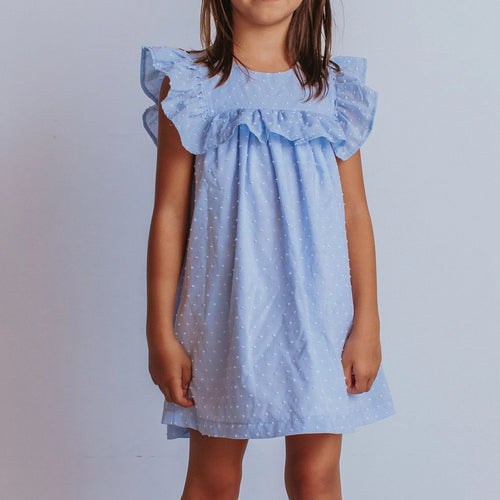 Little Girl's Blue Swiss Dot Cotton Ruffle Collar Dress