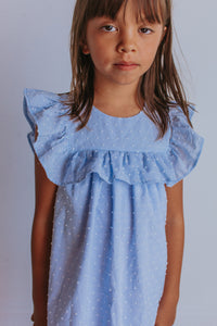 little girls blue ruffle dress
