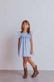 Little Girl's Blue Swiss Dot Ruffle Dress