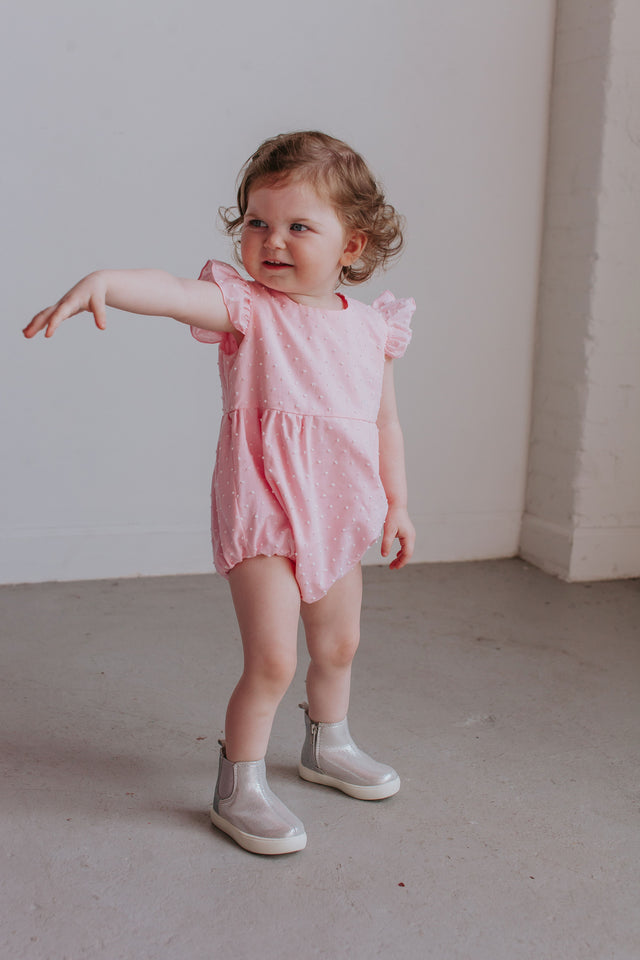 pink swiss dot bubble romper