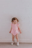 Infant Girl's Pink Swiss Dot Cotton Bubble Romper
