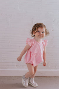 swiss dot pink bubble romper