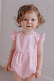 infant girl's pink swiss dot bubble romper