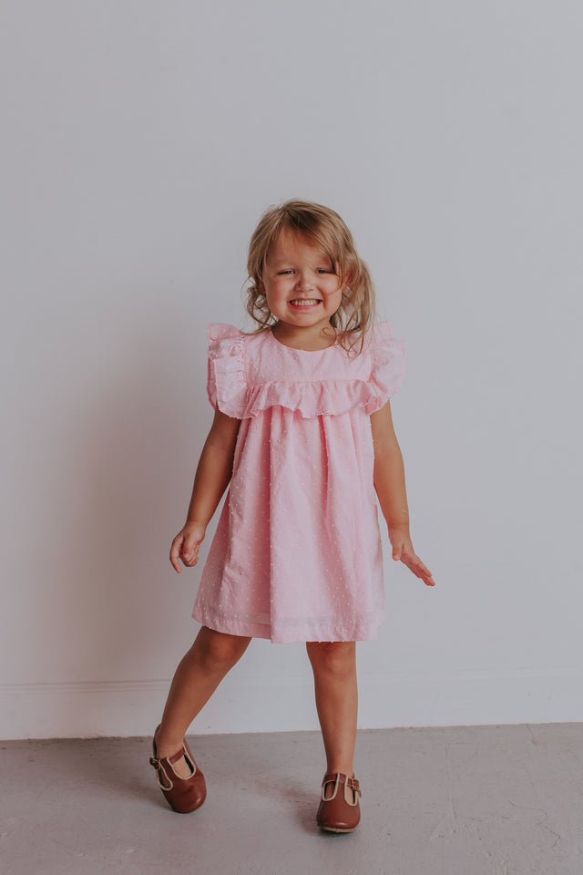 Little Girl's Pink Swiss Dot Ruffle Dress