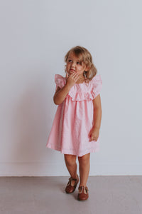 pink swiss dot ruffle dress