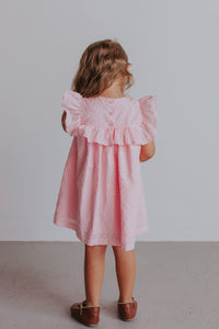 little girl's pink ruffle special occasion dress