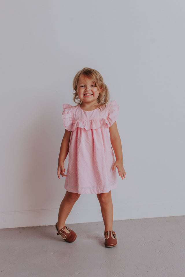 pink ruffle little girls dress