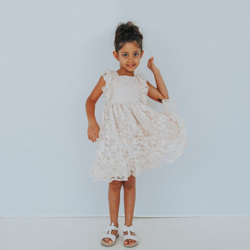 boho blush flower girl dress
