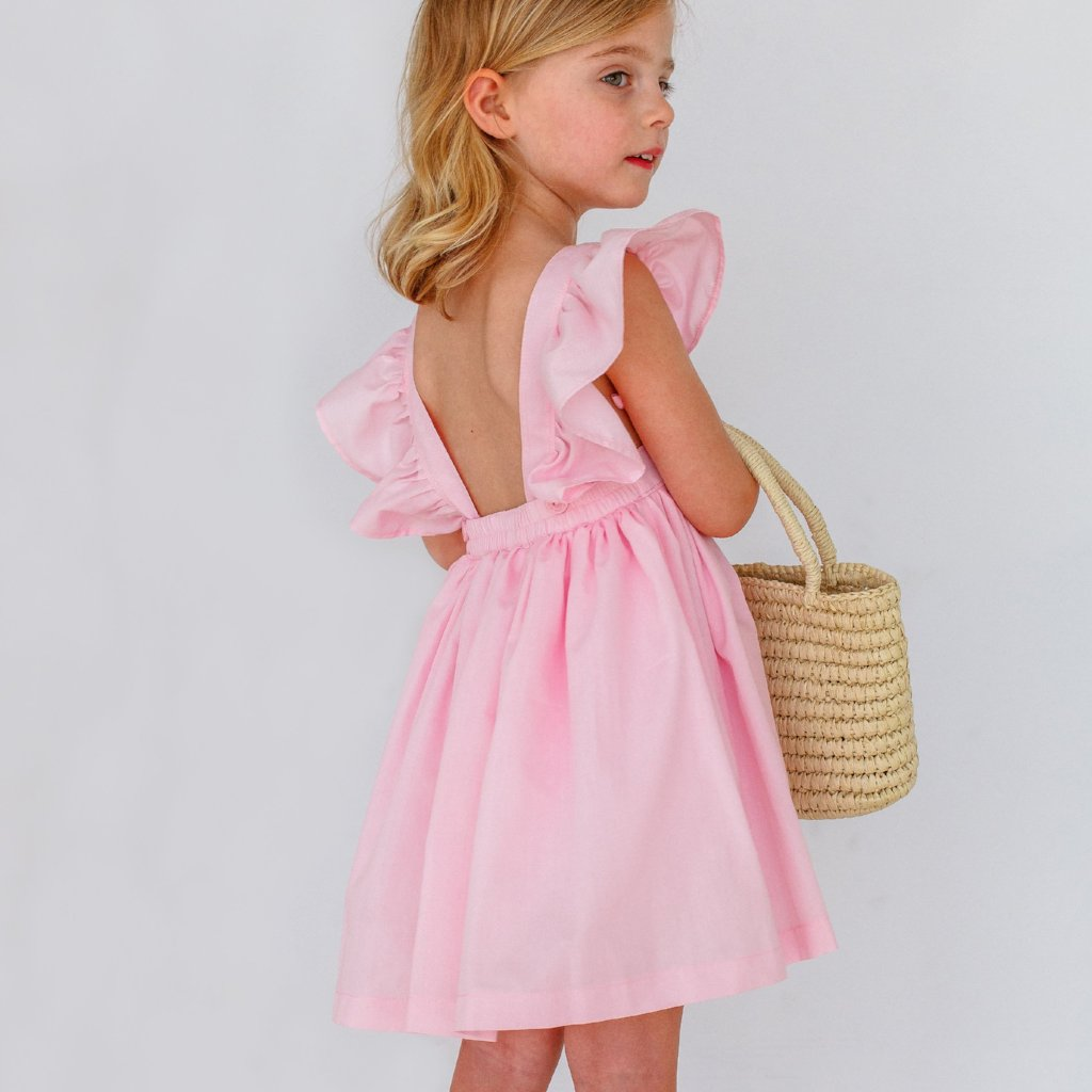 pink pinafore dress little girls