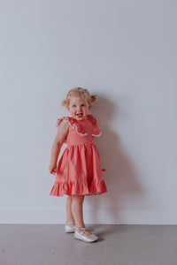 girls coral pinafore gingham dress