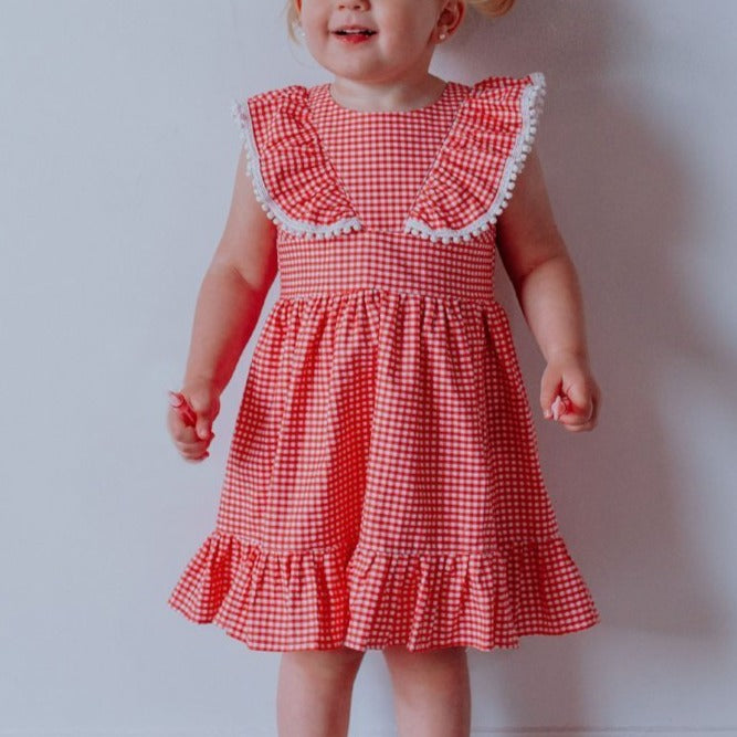 coral little girls dress