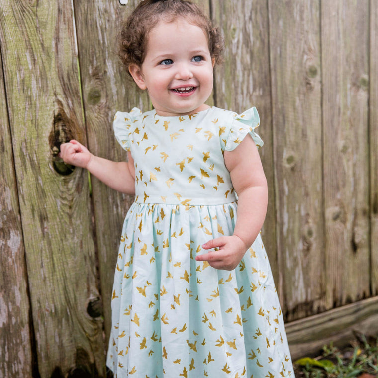 'Wren' Mint and Gold Bird Dress