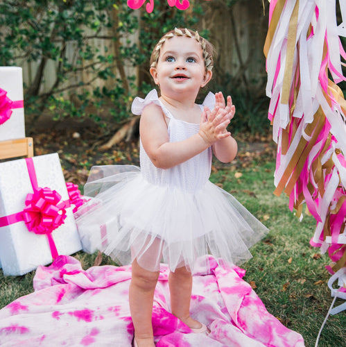 Infant Girl's Pink Seersucker and White Tulle Flutter Sleeve Bubble Romper