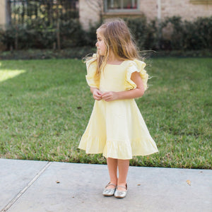 girls yellow seersucker dress