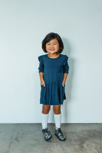 Girl's Navy Blue Jersey Quarter Length Flutter Sleeve Dress