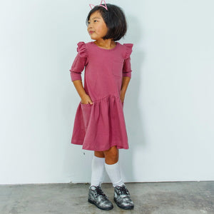 Little Girl's Dusty Rose Pink Cotton Jersey Dress
