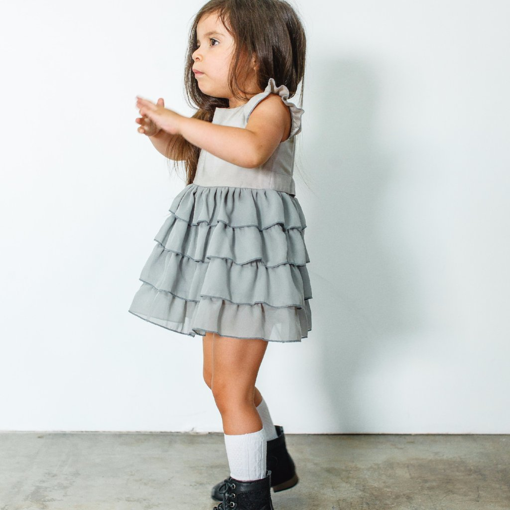 girls gray boho dress