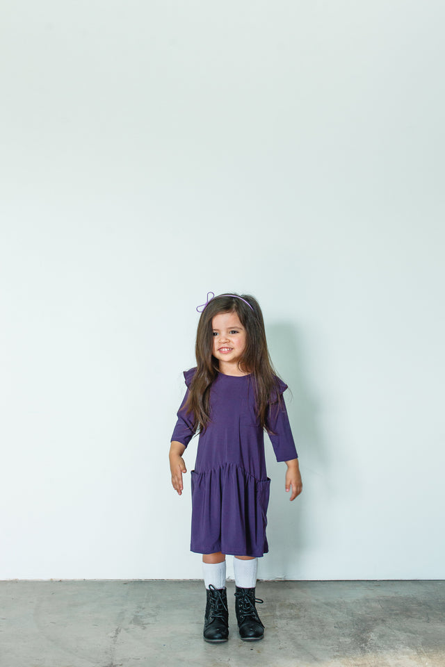 girls purple jersey dress
