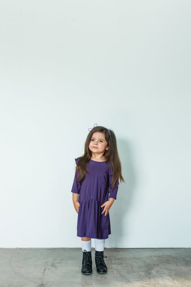 girls purple jersey flutter sleeve dress