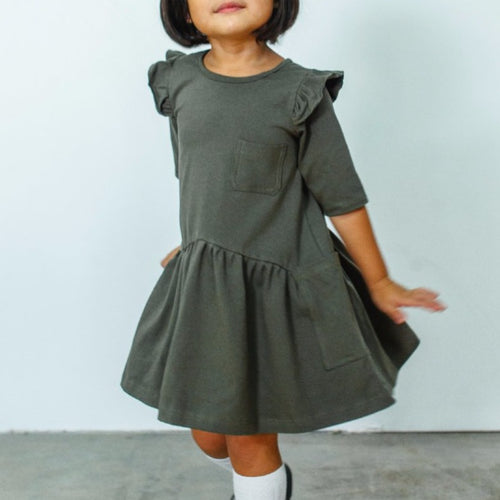 Little Girl's Olive Green Flutter Sleeve Three Pocket Jersey Dress with Three Quarter Length Sleeves