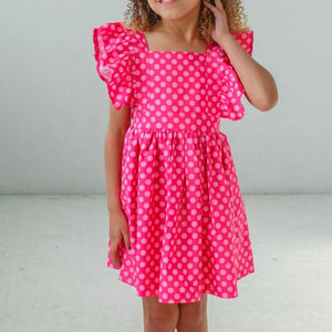 little girls pink polka dot pinafore dress