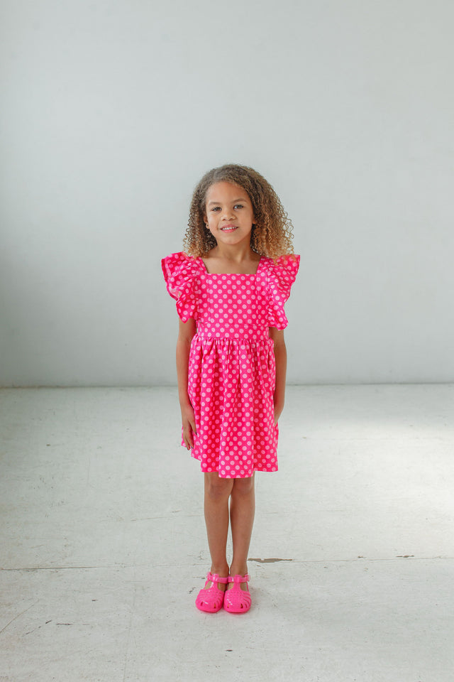 little girls pink polka dot pinafore dresses