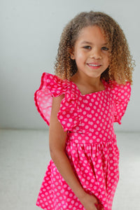little girls pink polka dot vintage inspired pinafore dress