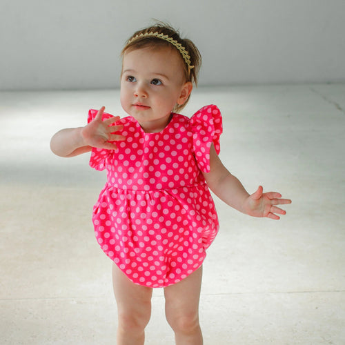pink polka dot bubble romper