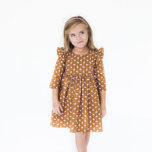 Little Girl's Reindeer Print Flutter Sleeve Holiday Dress