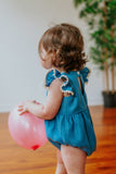 first birthday photoshoot chambray romper