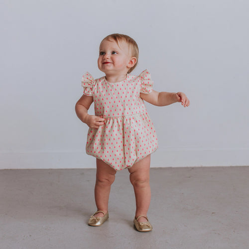 Infant Girl's Bright Pink Dot Cotton Bubble Romper