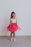Little Girl's Bright Pink Dot Print Ruffle Cotton Dress