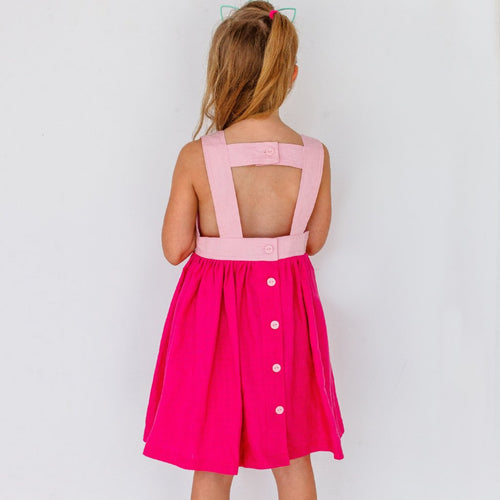 pink open back girls dress