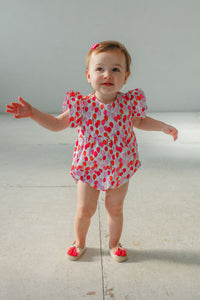 infant girl balloon print bubble romper
