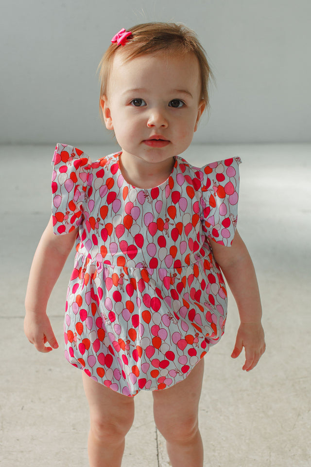 baby girls balloon print bubble romper