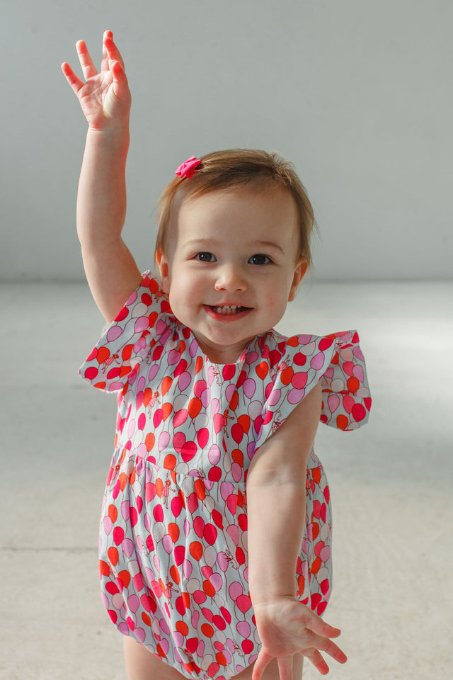 baby girl's balloon print bubble romper