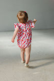little girls balloon print romper